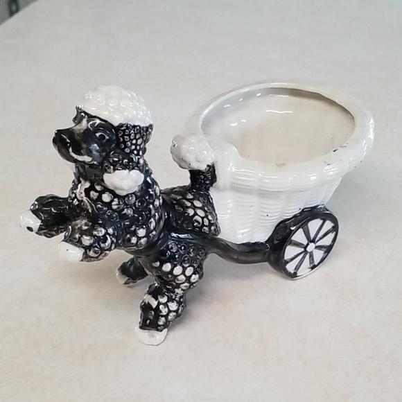 Vintage Japan Handpainted Poodle with Cart Planter